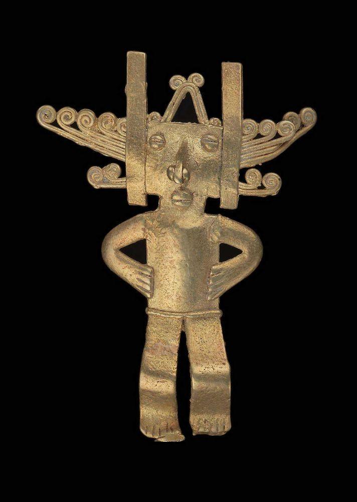 Human effigy pendant Quimbaya , A.D. 500–1530. Gold -1