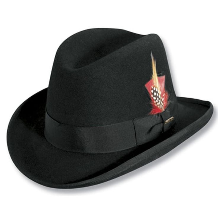 Scala Springfield -  Wool Fedora Hat $48.00   No doubt about it, the Springfield fedora, in a classic Homburg style, will ramp up your dress outfit to a whole new level. The Springfield has a traditional pencil roll brim with bound edge and grosgrain ribbon hat band. This style is satin lined and is fitted with a leather sweatband. The Springfield also includes a double bow at the profile and a feather detail.