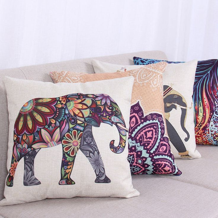 Cotton Linen Cushion Cover Boho Tribal Elephant Animal Throw Pillow Case Decor | eBay