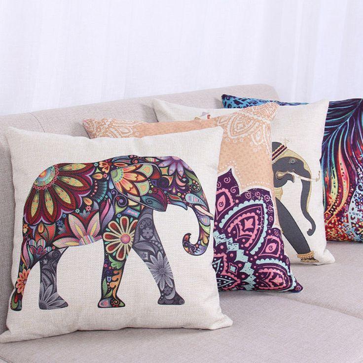 Vintage Cotton Linen Cushion Cover Boho Tribal Elephant Throw Pillow Cases Decor in Home, Furniture & DIY, Home Decor, Cushions   eBay