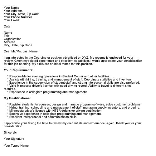 business letter format cover letters