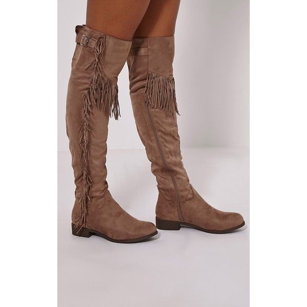 Amorie Mocha Tassel Side Flat Faux Suede Thigh Boots-3 ($44) ❤ liked on Polyvore…