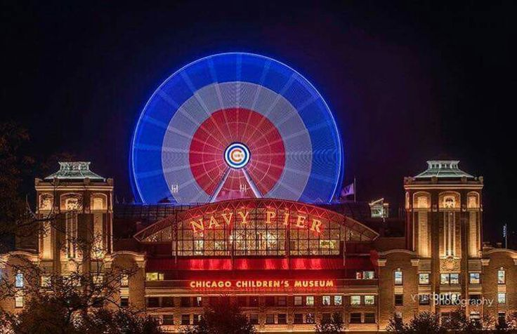 Chicago's Navy Pierre showing support for Chicago Cubs. ❤ it                                                                                                                                                                                 More