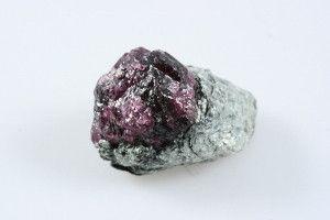 """Red Garnet Crystal in Schist 1.12"""" x 0.87"""" x 0.50"""""""