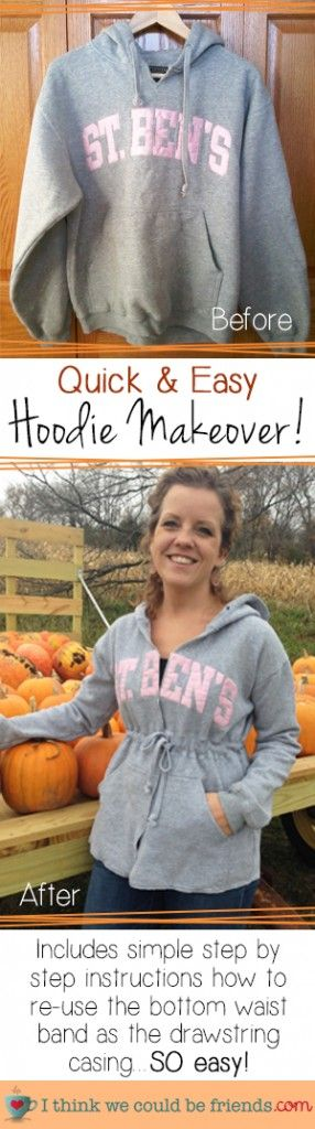 Proof that you can have school spirit AND a waistline! AWESOME tutorial for a DIY Hoodie Makeover!