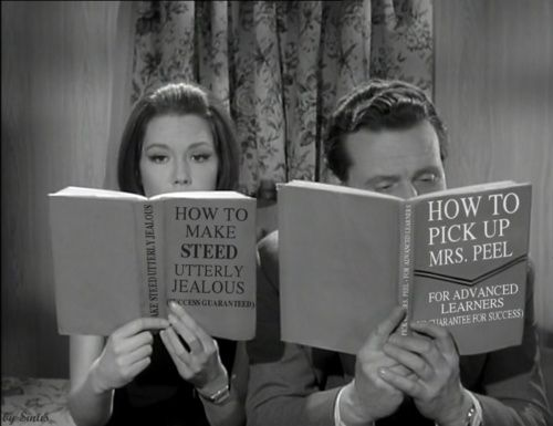 The couple that reads together...Diana Rigg (Emma Peel) & Patrick Macnee (John Steed) from The Avengers TV series 1961-1969