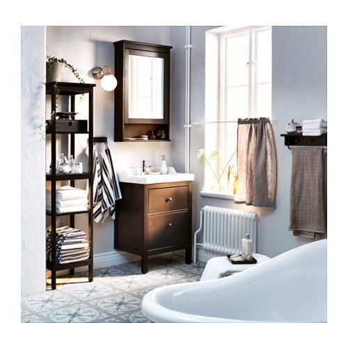 HEMNES Mirror cabinet with 1 door, black-brown stain black-brown stain 24 3/4x6 1/4x38 5/8