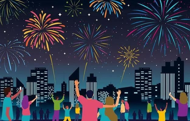 People Celebrating New Year With Fireworks Vector Vector Art Design Fireworks Vector Art