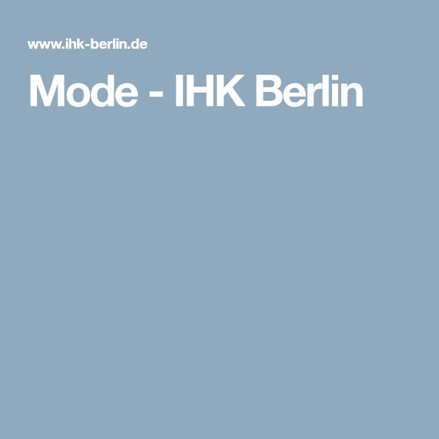 Mode - IHK Berlin