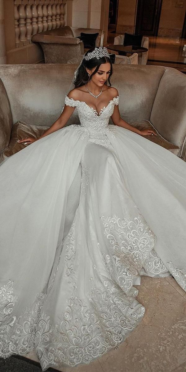 24 Lace Ball Gown Wedding Dresses You Love ❤  lace ball gown wedding dresses sweetheart neckline with train saiidkobeisy ❤ #weddingdresses