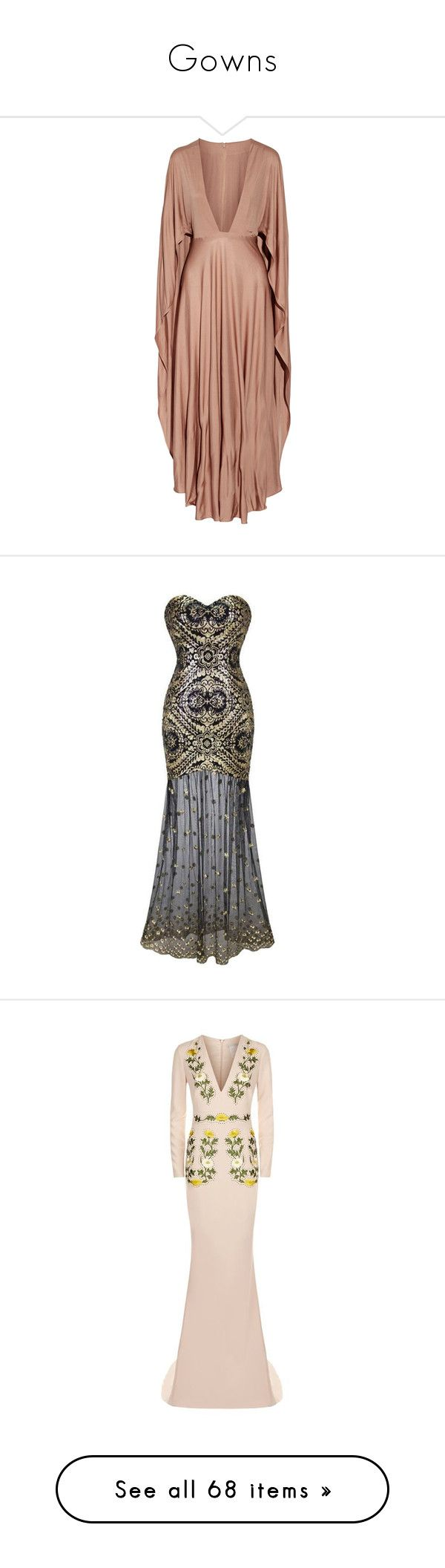 """""""Gowns"""" by purplehazexxx ❤ liked on Polyvore featuring dresses, gowns, vestidos, valentino, valentino dress, beige evening dress, beige gown, plunging neckline maxi dress, valentino evening gowns and holiday party dresses"""
