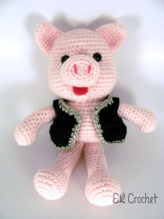 Small Pink Crochet Amigurumi Pig in Black and Silver Metallic Vest
