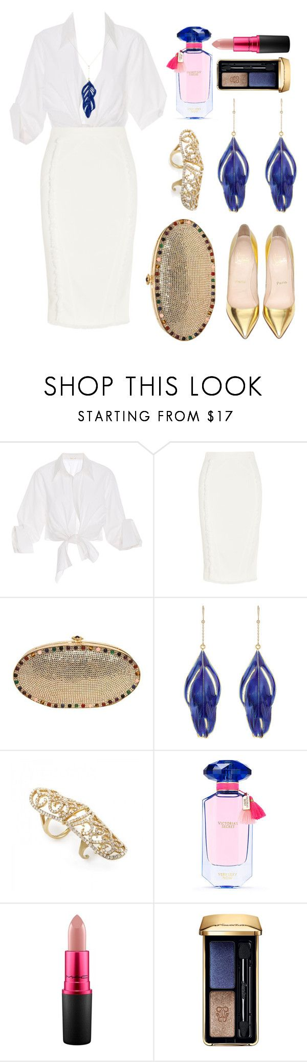 """Untitled #179"" by ivanov1234491 ❤ liked on Polyvore featuring Johanna Ortiz, Altuzarra, Christian Louboutin, Judith Leiber, Aurélie Bidermann, Victoria's Secret, MAC Cosmetics and Guerlain"