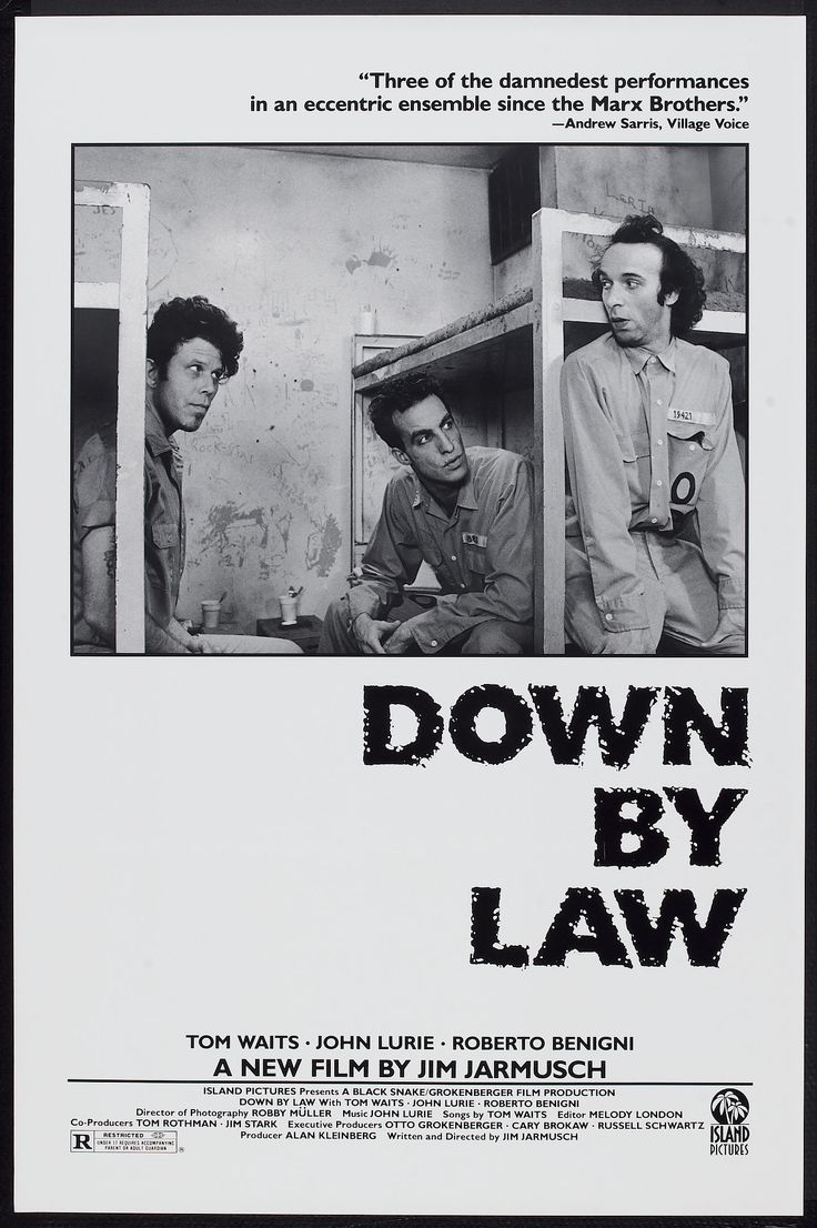 Down by Law (Jim Jarmusch, 1986) US One sheet: Movie Posters, Roberto Benign, Jim Jarmusch, Toms Wait, Movies Poster, John Luri, Law 1986, Film Poster, Cinema Poster