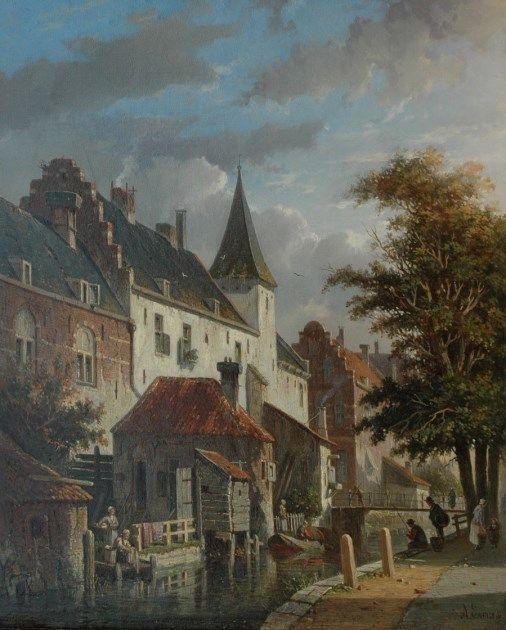 Adrianus Eversen (Amsterdam 1818-1897 Delft) Fantasiegezicht op de Muurhuizen en de Zuidsingel, Amersfoort.