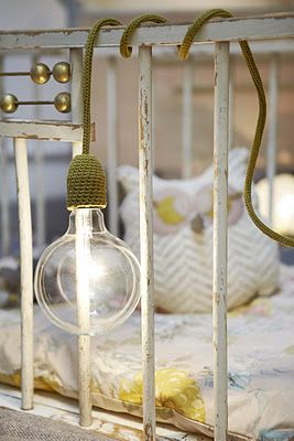 crochet light (not too safe around a cot though!) via curiosites-en-tissu.blogspot.com