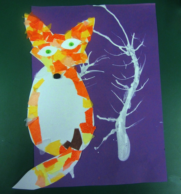 Arctic fox craft for kids using tissue paper, perfect for Fantastic Mr. Fox