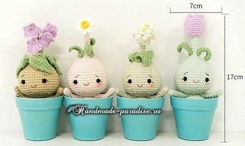 Луковичные цветы - куколки амигуруми. Перед вами луковицы нарцисса, тюльпана и других комнатных горшечных растений.
