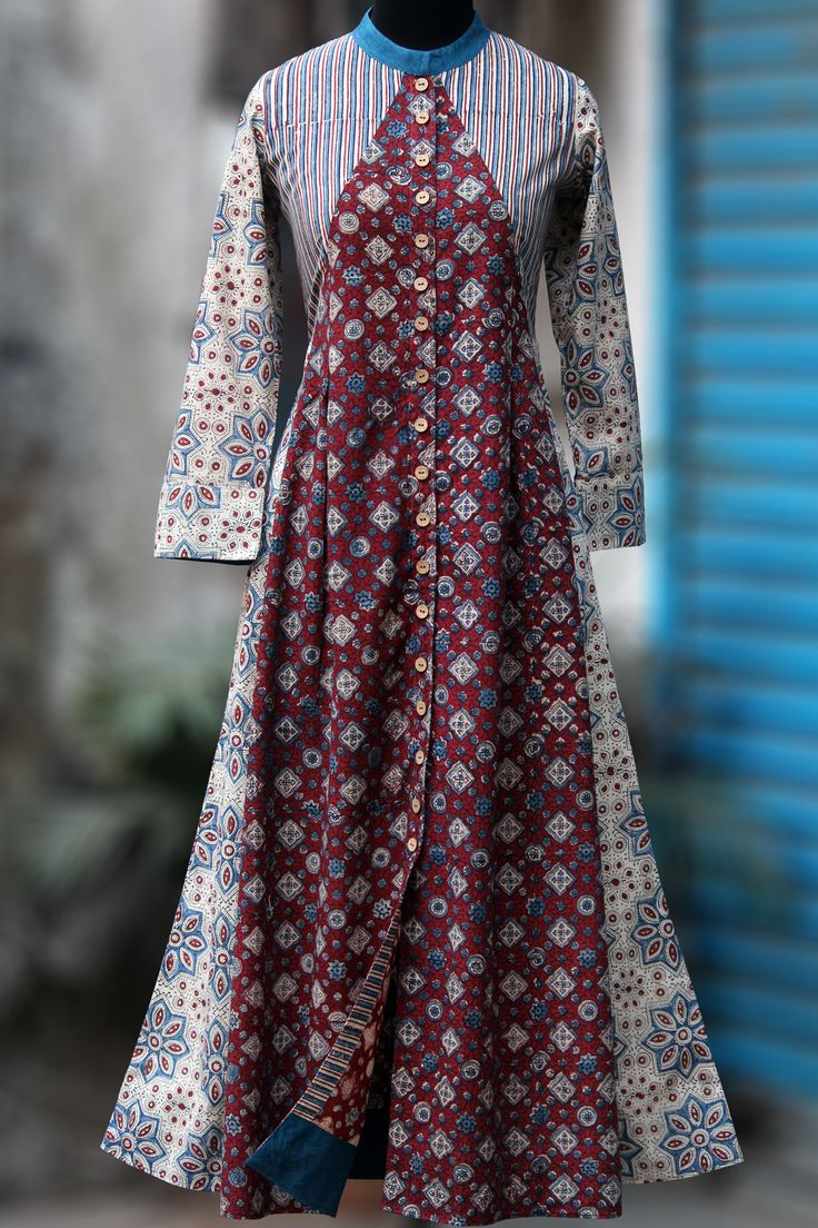a front button down shirt dress in mandarin collar & wooden buttons! main fabric: 100% cotton, handblock printed using the ajrakh technique using natural