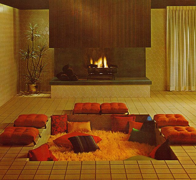 Conversation Pit, from the 1960s.  Repinned by Secret Design Studio, Melbourne.  www.secretdesignstudio.com