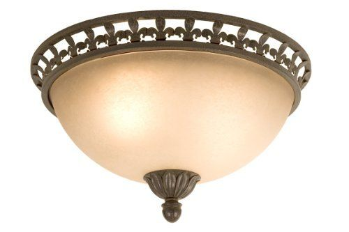 """Checkolite 18"""" Bronze Iron Ceiling Fixture with Scavo Textured Glass by Checkolite. $24.95. Bronze Fleur-de-lis decorated Rim. Uses up to 2 x 60 watt medium base Type A bulbs (Not Included). 18 Inch European styled Ceiling Fixture. Leaf Decorated Center Finial. Italian Inspired Champagne Scavo Glass. This 18 Inch ceiling fixture features bronze fleur-de-lis decorating the rim. A symbol of French monarchy the fleur-de-lis gives this fixture a style of traditional European elegan..."""