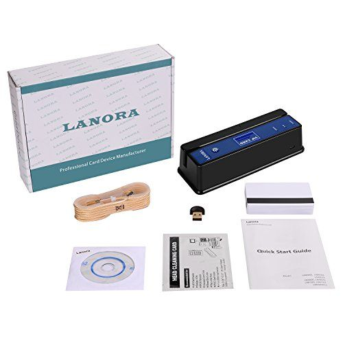 Lanora LNR990 PRO Bluetooth 3 Tracks Magnetic Stripe Card Writer Reader Encoder (Black)  Full-Version: 3-Tracks, Hi-Co and Lo-Co, Read/Write/Erase.  Free Software for Windows and Mac OS.  Accuracy is over 99.99%.  Using is more convenient .  More stable than LNR800 LNR820.