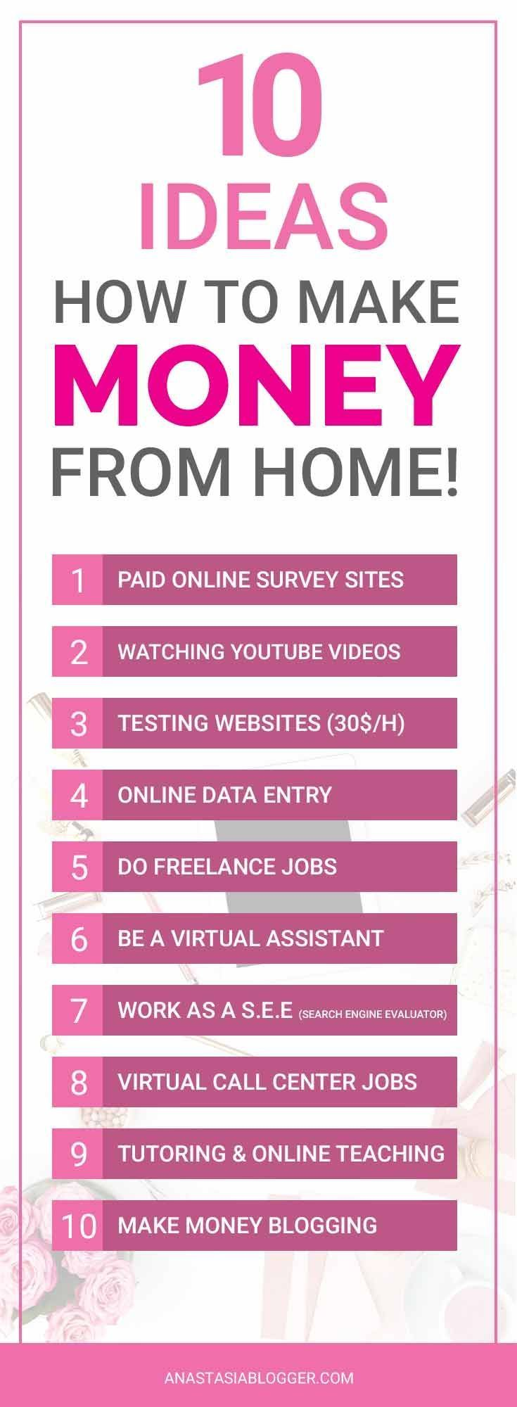 How does she make extra $1000 a moth online? 10 ideas how to make money from home - make money fast, make money online, make money ideas, make money blogging, as a virtual assistant, via paid online surveys, earn money online in every possible way!