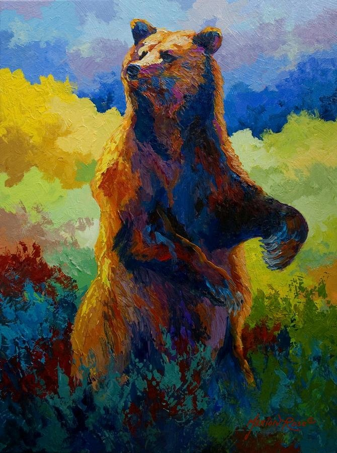 I Spy - Grizzly Bear Painting  by Marion Rose