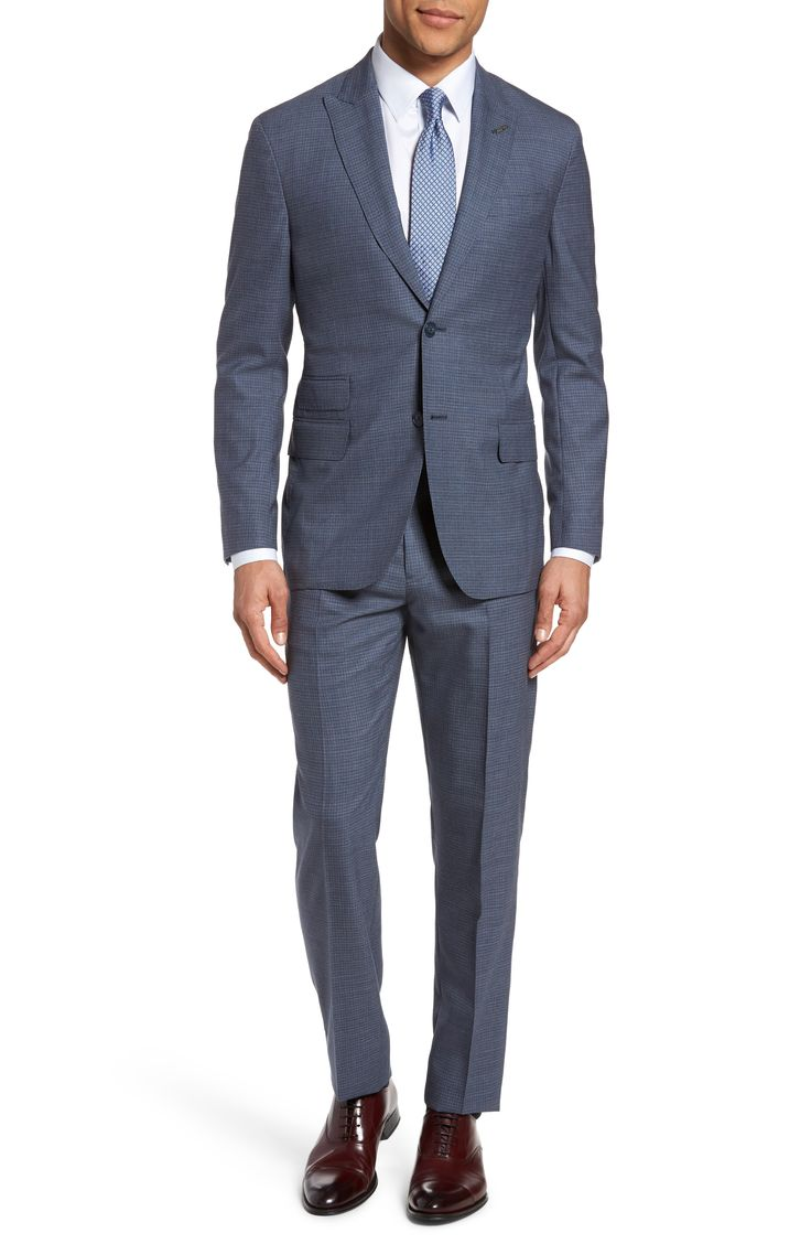 New Michael Bastian Classic Fit Check Wool Suit ,PURPLE SAND fashion online. [$895]top10shopping top<<