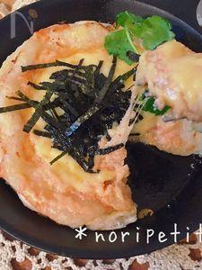 簡単♡カリッ♪もちっ〜トロォ〜♡明太マヨチーズのお餅ピザ