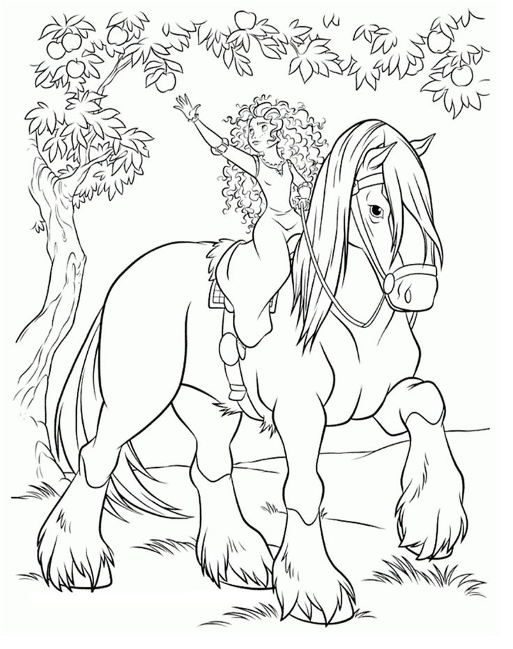 Brave Coloring Page Of Merida And Her Horse Angus
