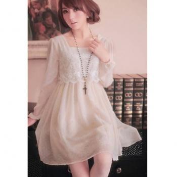 Sweet Square Neck Pin Dot Long Sleeve Chiffon   Lace Women's Dress $14.29