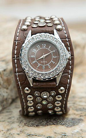 Blazin Roxx® Women's Brown with Crystals & Silver Studs Scallop Cuff Watch