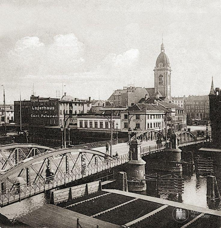 Кёнигсберг. Старый Высокий мост и кирха Лютера. Фото ок. 1915 года.