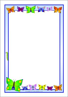 Butterfly A4 page borders (SB9554) - SparkleBox