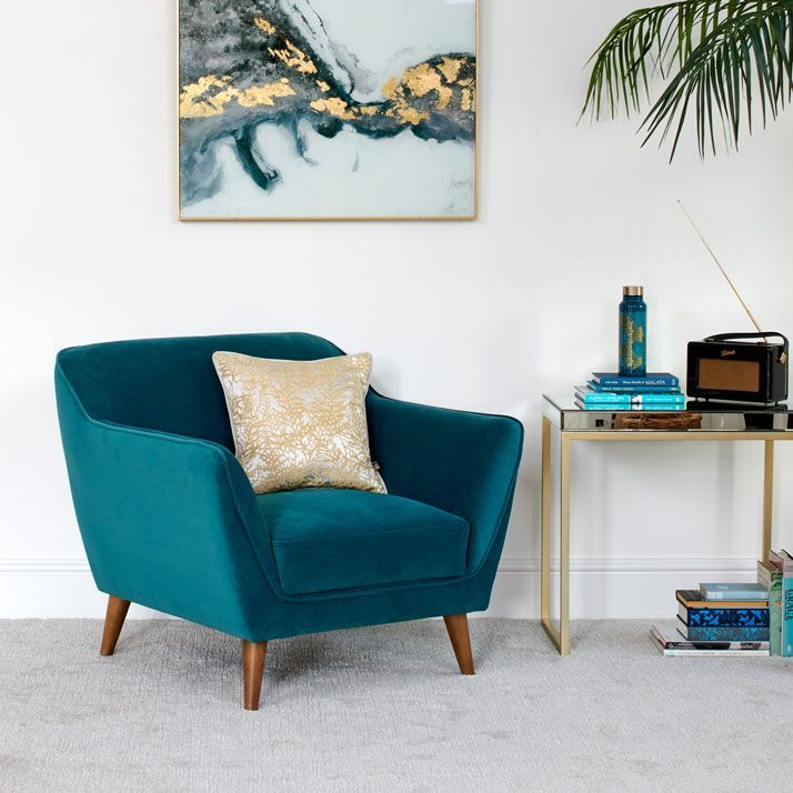 Freddie Teal Armchair In 2021 Teal Armchair Arm Chairs Living Room Velvet Chairs Living Room
