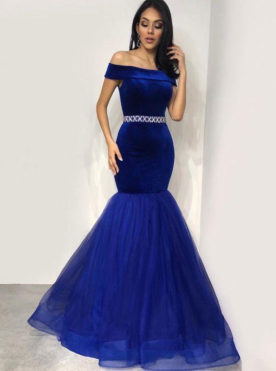 20febcfc0f3ed Mermaid Off-the-Shoulder Floor-Length Royal Blue Velvet Prom Dress ...