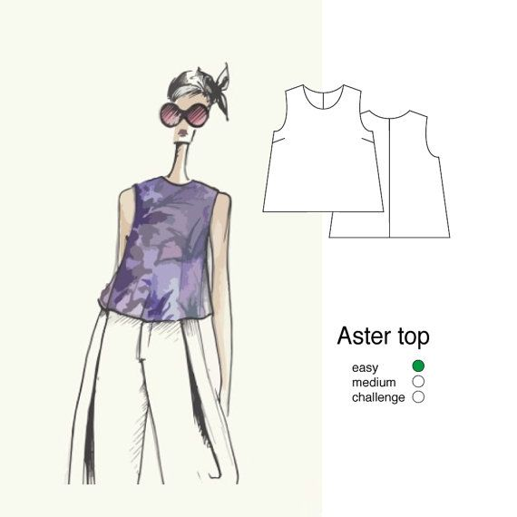 Aster top sizes 8-16 women's sewing pattern PDF by Thepatternsroom