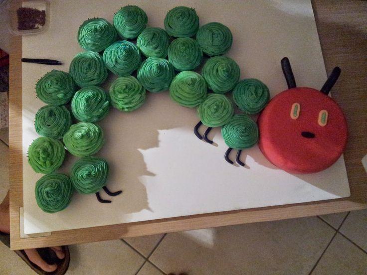 The very hungry caterpillar birthday cupcakes cake