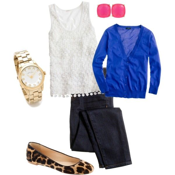 J. Crew Top, Cobalt Cardigan, Pink Studs, Gold watch, Patterned Animal Flats, and Dark-Stained Jeans