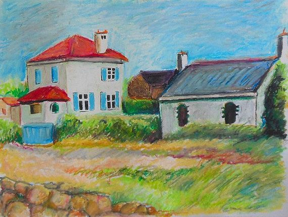 beach houses in brittany france original oil pastel in
