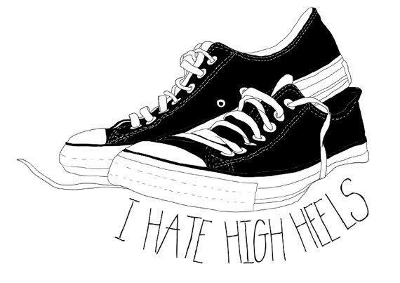 odio los tacones dibujo de zapatillas converse | Dibujo
