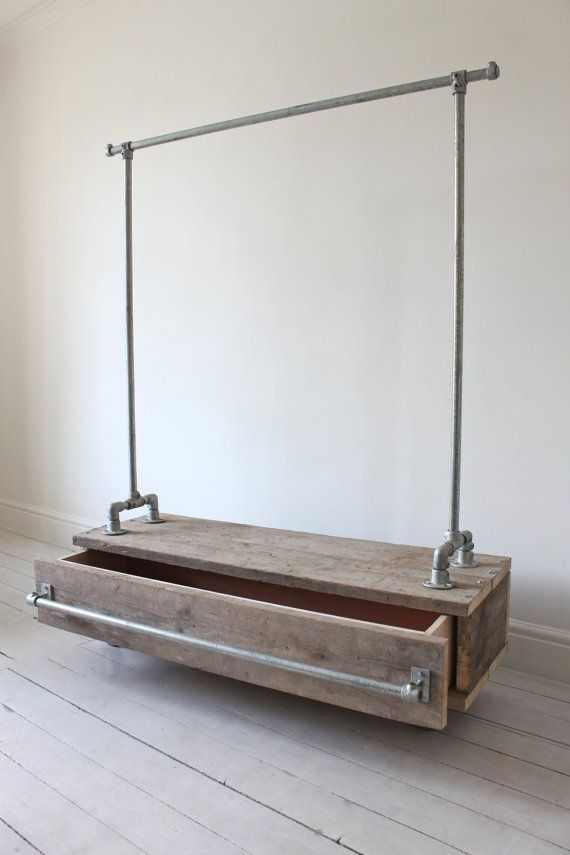 Galvanised Steel Pipe Clothes Rail with Reclaimed by inspiritdeco // great storage idea in store