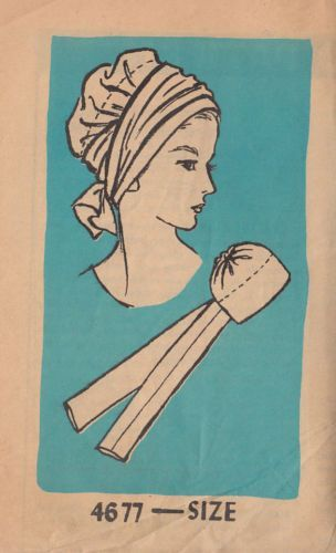 1966 Tied Closed Turban Hat Pattern Vintage Misses':
