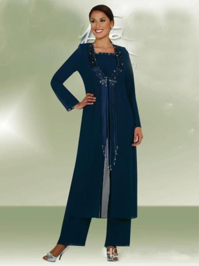 Latest Dark Navy Long Jacket Mother Bride Pants Suits Women Party Wear Chiffon Groom Mother Trousers Suits Fashion Sequins Tassel J0an Rivers Joan Joan Rivers From Lilliantan, $170.86| Dhgate.Com