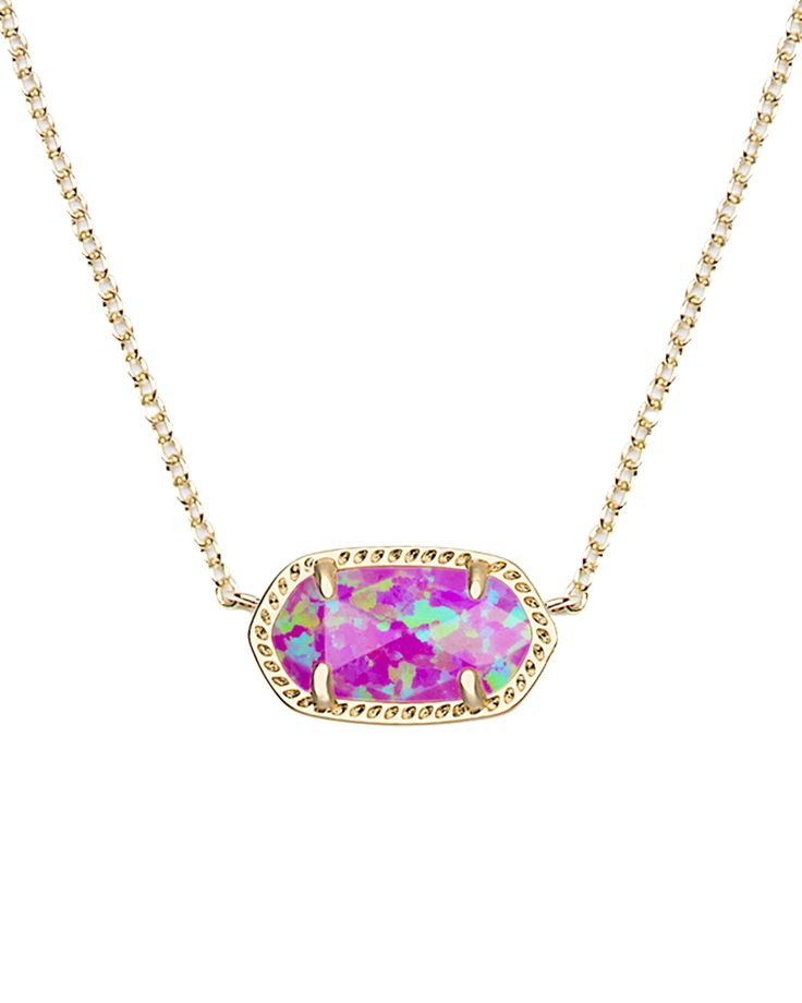 Elisa Pendant Necklace in Fuchsia Kyocera Opal - Kendra Scott Jewelry.
