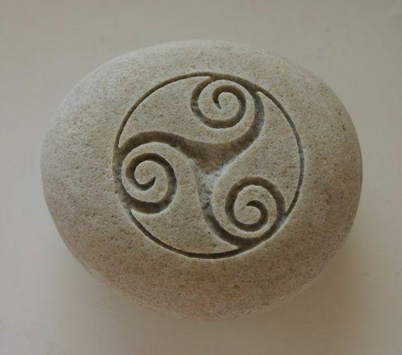 Triskele Engraved White Light Grey Stone Female Power Triple Spiral Celtic Symbol