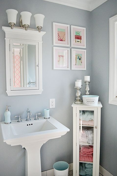 i like the wall colour and the storage unit by the pedestal sink - Bathroom Ideas Colors For Small Bathrooms