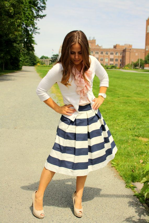 Awning Striped Skirt Blue and White by laviepetite on Etsy