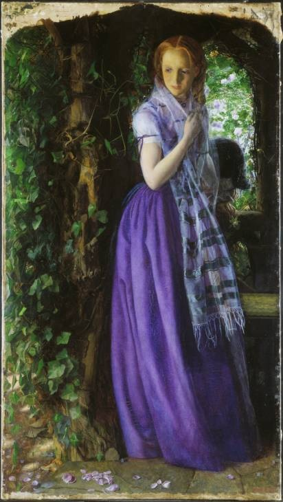April Love by Arthur Hughes 1855-6  (an admirer of Millais and associate of The Pre Raphaelite brotherhood) - placing emphasis on the pathos of human inability to maintain the freshness of youthful feeling in comparison to the regenerative power of nature. - Tate Gallery